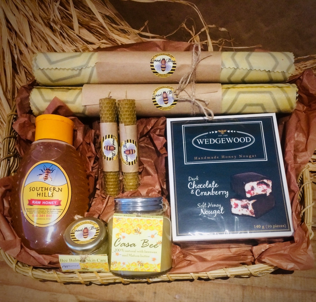 Raw honey and beeswax products hamper.
